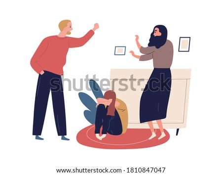 Distraught and furious husband yell and threaten mother and crying child. Domestic violence, abusive relationships, harassment in family. Flat vector cartoon illustration isolated on white Photo stock ©