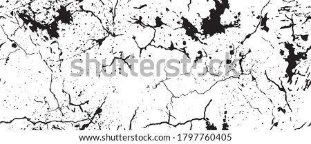 Distress Grunge Texture. Seamless Pattern. Halftone Old, Retro Background. Broken, Cracked Wall Texture. Scratched, Dirt Print. Black and White Grunge Style. Noise Rough Design. Vector Illustration. Photo stock ©