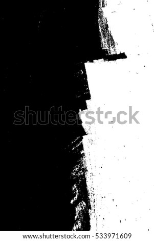 Distress Overlay Texture. Paintbrush grunge background. Black empty design element. Weathered brushed backdrop. Urban brush wall template.  EPS10 vector.