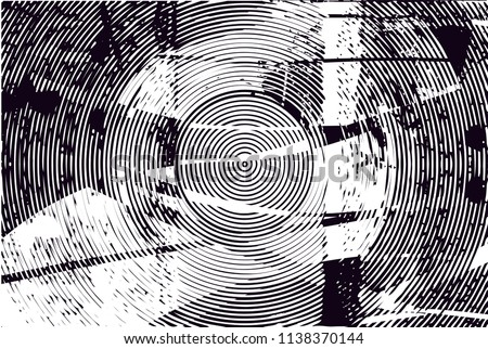 Distressed background in black and white texture with circles, spots, scratches and lines. Abstract vector illustration #1138370144