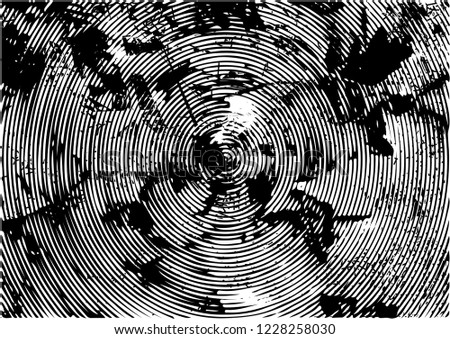Distressed background in black and white texture with circles, spots, scratches and lines. Abstract vector illustration #1228258030
