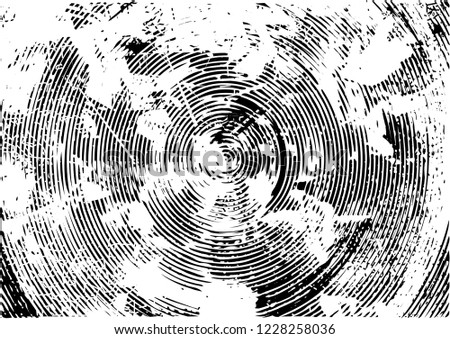 Distressed background in black and white texture with circles, spots, scratches and lines. Abstract vector illustration #1228258036