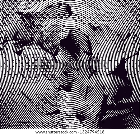 Distressed background in black and white texture with circles, spots, scratches and lines. Abstract vector illustration #1324794518