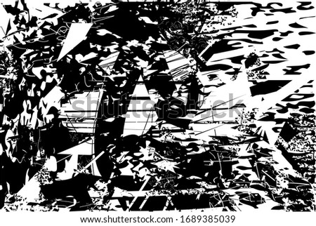 Distressed background in black and white texture with grass, spots, scratches and lines. Abstract vector illustration