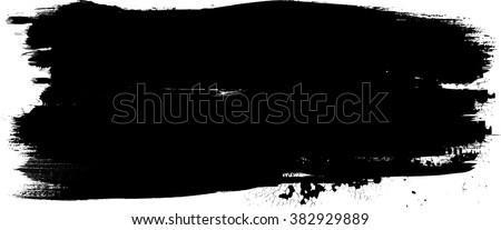 Distressed Brush Stroke . Black Modern Textured banner .