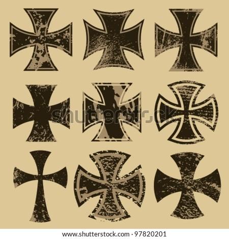 distressed crosses set