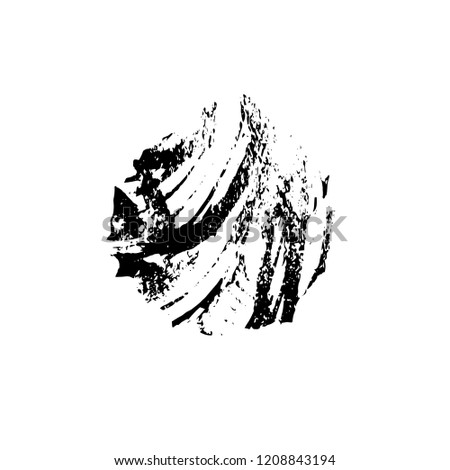 Distressed Grunge Brush Stroke Template. Black Paint Vector Texture. Dirty Creative Design Overlay Elements #1208843194