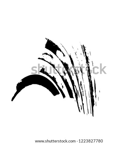 Distressed Grunge Brush Stroke Template. Black Paint Vector Texture. Dirty Creative Design Overlay Elements #1223827780