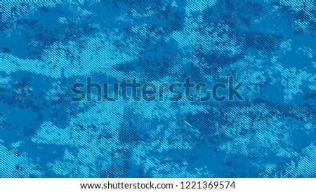 Distressed Grunge Dotted Texture. Cartoon Retro Vector Pattern. Splatter Style Texture. Blue Broken, Spotted Print Design Background. #1221369574