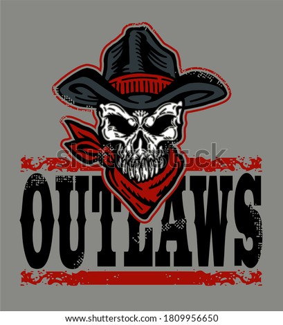 distressed outlaws team design with skull and cowboy hat for school, college or league Foto d'archivio ©