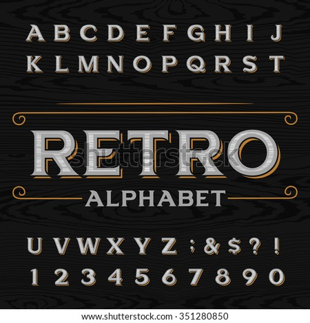 Distressed retro vector typeface. Letters, numbers and symbols on the dark wood textured background. Alphabet font for labels, headlines, posters etc.