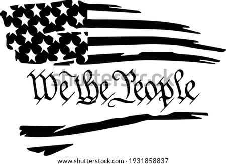 Distressed tattered usa flag with the preamble through the center Photo stock ©