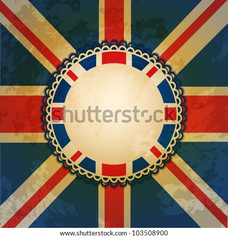 distressed union jack flag with central rosette