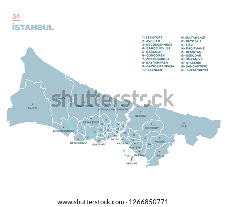 District map of Istanbul Province, Turkey. Stok fotoğraf ©