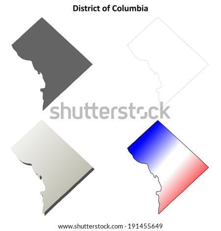 District of Columbia outline map set - vector version