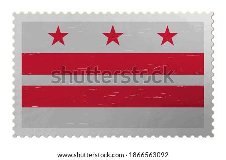 District of Columbia USA - Washington, D.C. flag on shabby postage stamp, vector Photo stock ©