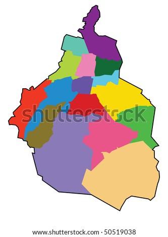 distrito federal map: Mexico City - stock vector