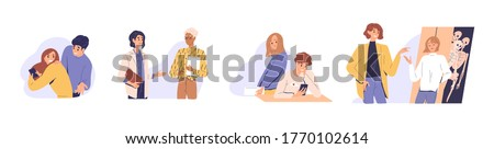 Distrust in people relationship. Concept of mistrust, betrayal, cheating on white background. Set of couples, business partners or colleagues talking, hiding, texting, jealous flat vector illustration Stockfoto ©