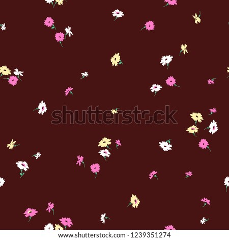 Ditsy Florals in Red Background Seeamless Pattern for Tshirt Graphic Vector Print