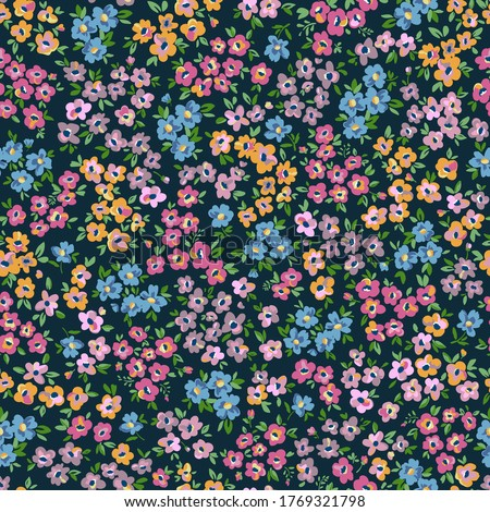 Ditsy flowers. Hand drawn vector seamless pattern in trendy style. Use for print, surface design, childish fashion wear