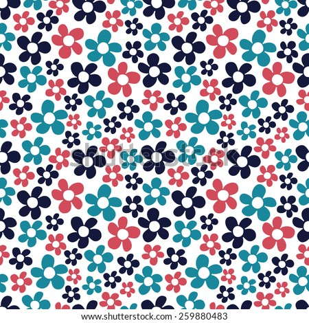 Ditsy flowers. Seamless pattern with small red, blue and black flowers on white background.