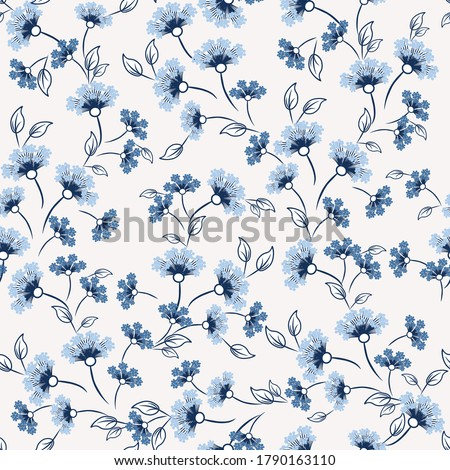 Ditsy pattern. Vector floral seamless texture. Abstract background with simple small blue flowers, leaves. Liberty style wallpapers. Subtle ornament. Elegant repeat design for decor, fabric, print