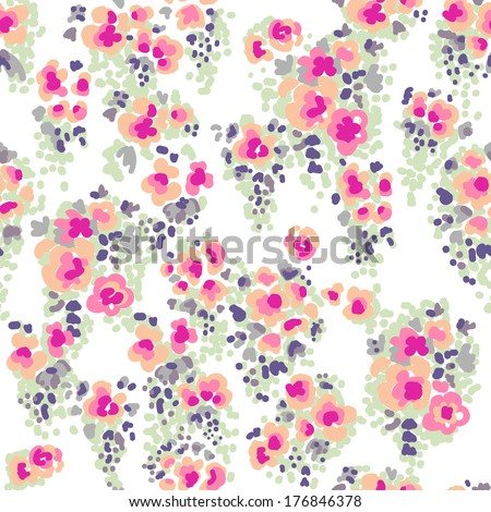 Ditsy watercolor flowers ~ seamless vector background