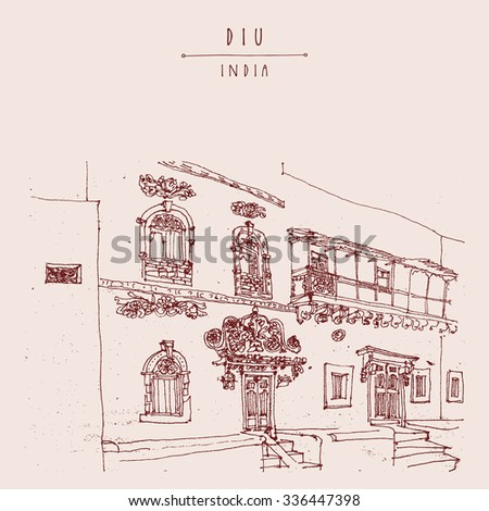 Diu, India. Amazing old traditional beautiful Portuguese colonial building Artistic freehand drawing on paper. Travel sketch. Touristic poster banner postcard template with copy space, hand lettering