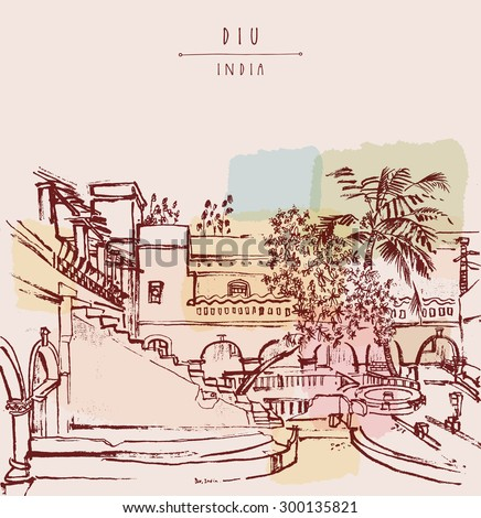 Diu, India. Amazing old traditional beautiful Portuguese colonial building. Artistic vector freehand drawing. Travel sketch. Touristic poster banner postcard template with copy space, hand lettering
