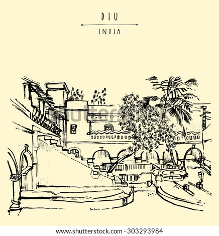Diu, India. Amazing old traditional Portuguese colonial building. Artistic vector freehand drawing. Travel sketch. Touristic poster banner postcard template with \