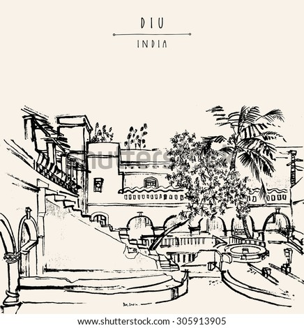 Diu, India. Amazing old traditional Portuguese colonial building. Artistic vector freehand drawing. Travel sketch. Touristic poster banner postcard coloring book page with \