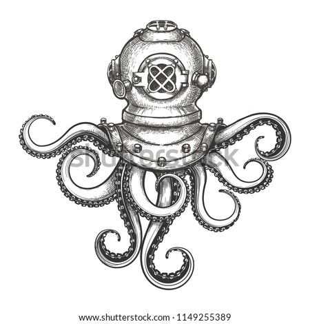 Diver helmet with octopus tentacles drawn in tattoo style. Vector Illustration.