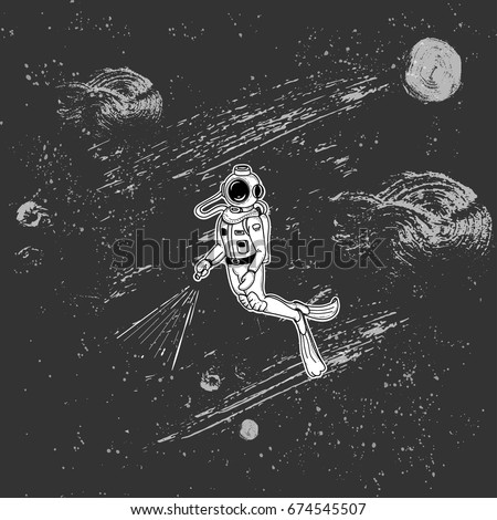 diver in the space journey