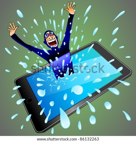 Diver Jumping Out Of Tablet Pc