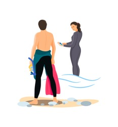 Divers couple together man and woman in swimsuit. Young man put on, take off swimwear and girl in diver costume. People in sportswear, diving extreme sport, activity tourist cartoon vector