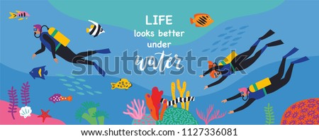 Stock Photo Divers swim over coral reef. Vector illustration. Horizontal banner.