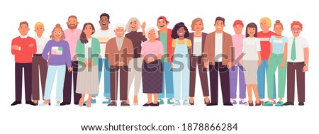 Diverse and multicultural group of people against a white background. A crowd of happy characters, young, adult and older men and women. Vector illustration in flat style