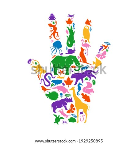Diverse animal shapes making human hand shape on isolated white background. Colorful animals silhouette illustration for wild life biodiversity concept or endangered species environment campaign.