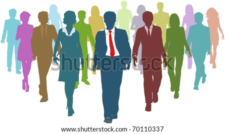 Diverse business people human resources silhouettes follow a team leader - stock vector