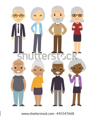 diverse cartoon senior couples