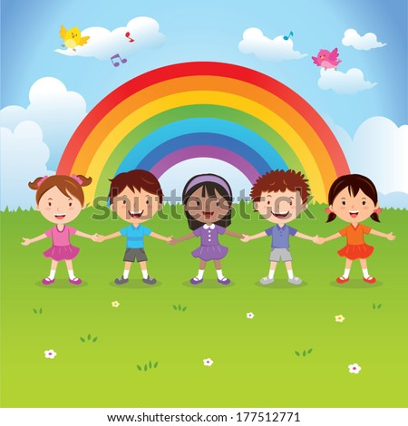 Diverse children under the rainbow. Vector illustration of happy kids holding hands with rainbow background.