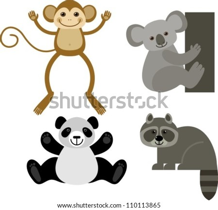 diverse collection of funny animals, vector illustration