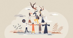 Diverse community as united various social ethnic groups tiny person concept. Pyramid with different races and nationalities as strong and united crowd vector illustration. Global equality and peace.