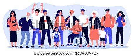 Diverse community members standing together. Crowd of happy men, women of different ages, children and disabled person. Vector illustration for civil society, diversity, togetherness, citizens concept