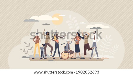Diverse community with various different society groups tiny person concept. Diversity with multicultural, multiracial and international people vector illustration. All population solidarity and unity