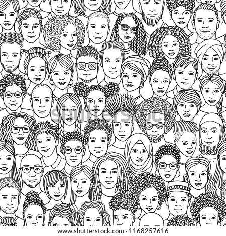 Diverse crowd of people - seamless pattern of hand drawn faces of various ethnicities in black and white