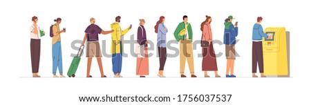 Diverse crowd stand in line to ATM vector flat illustration. Man and woman in queue performing financial transactions isolated on white. People with credit card and cash waiting terminal service