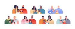 Diverse family character collection with same parent and children. Families ancestry study, adoption issues or parenting concept on isolated white background.