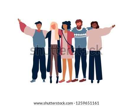 Diverse friend group of people hugging together for special event celebration. Girls and boys team hug on isolated white background with copy space.