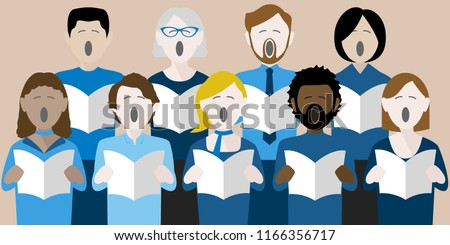 diverse group of adults singing in a multicultural choir Stock photo ©
